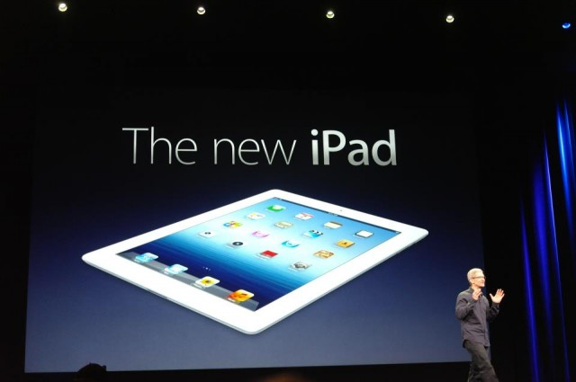 Apple CEO Tim Cook launching the New iPad in 2012