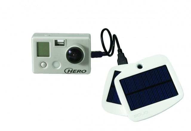Solio Bolt charging a GoPro camera