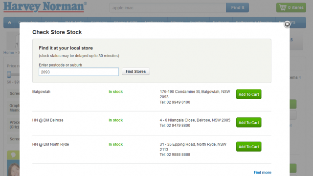 "Harvey Norman on line ""store stock"" finder confirms the in-store availability"