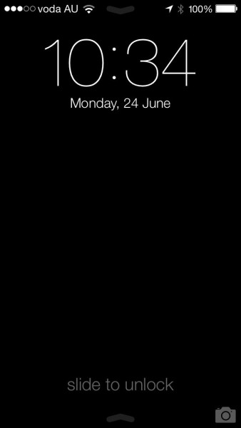 iOS 7 - Lock screen - I've made it black to demonstrate the arrows