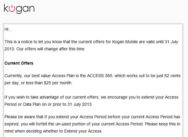 Kogan's email to Kogan Mobile customers