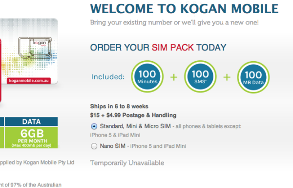 "Kogan Mobile ""new customer"" sales are ""temporarily unavailable"""