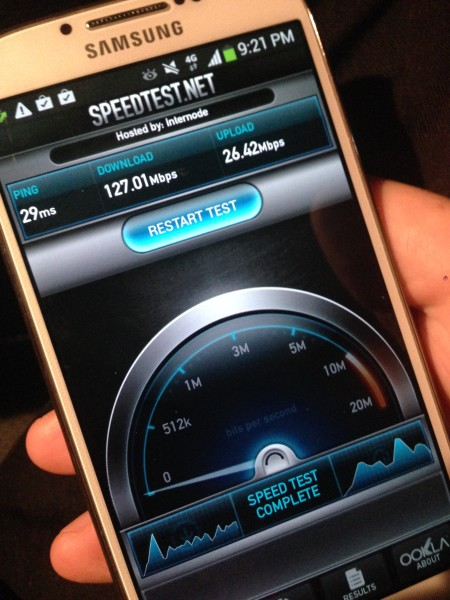 Vodafone 4G Cat 4 Network speed test on a Samsung Galaxy S4