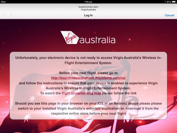 Checking out Virgin Australia's in-flight WiFi entertainment system