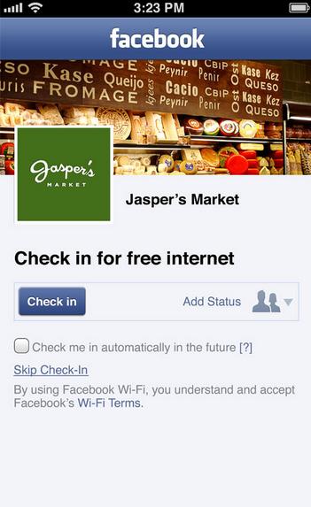 Facebook WiFi checking screen