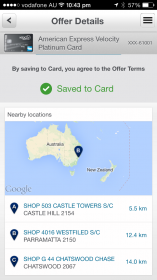 American Express App showing the offer saved to your card and locations on a map to buy from
