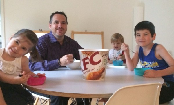 My kids and I at breakfast time - my phone and their iPod touch are in the KFC bucket!