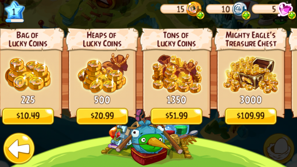 Tempting in-app purchases - Angry Birds Epic
