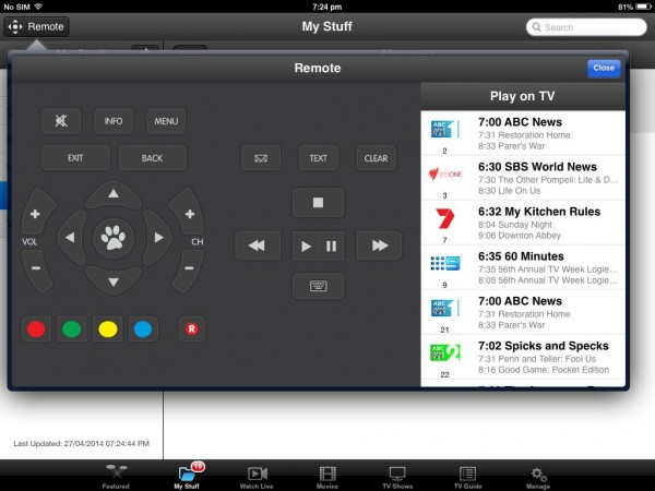 Fetch TV app as a fully functional remote for your Fetch box - anywhere in the house