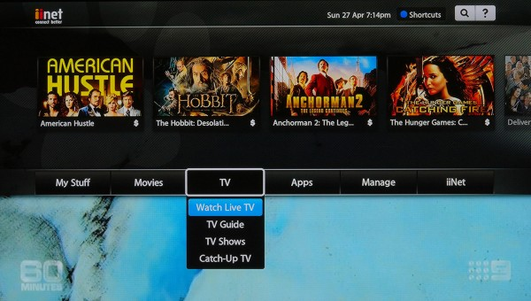 TV menu for Live, Catch Up and On Demand TV content