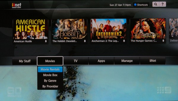 Movie menu for renting movie titles
