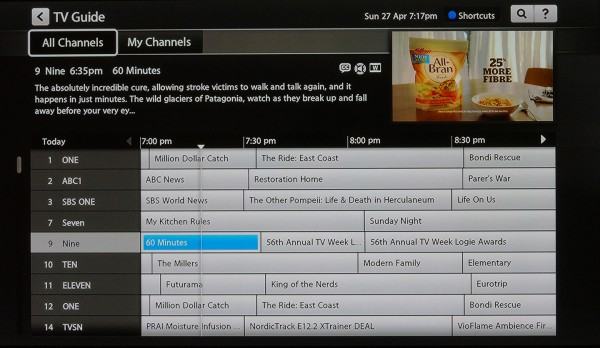 Fetch TV EPG display