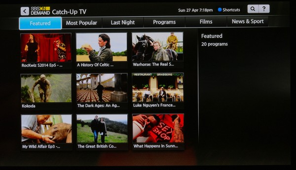The Catch Up TV services continue to follow the same menu style as the rest of the Fetch TV system