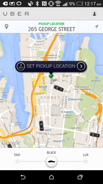 "Uber - ""Black"" Hire car booking"