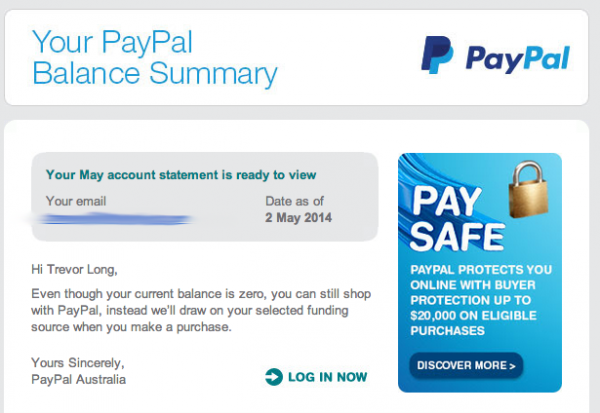 A regular email from PayPal