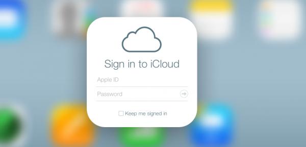 Apple iCloud sign-in screen
