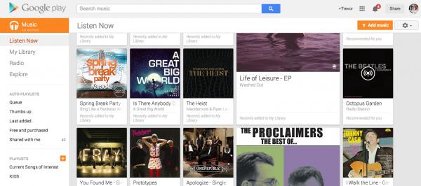 Google Play Music - Web interface