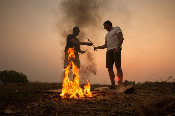 Territory Mates Mark Skaife and Mark Beretta after lighting a fire with traditional firesticks on a boys own adventure from Darwin to Kakadu National Park